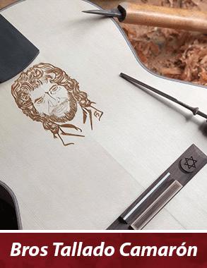 guitarra flamenca con personalización del tallado de camarón